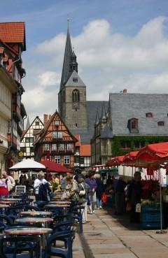Marktkirche St. Benedict, Quedlinburg, bindingsverk, middelalder, Marktplatz, Altstadt, Unesco Verdensarv, Nord-Tyskland, Tyskland