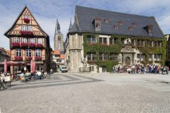 Marktplatz, Rathaus, Marktkirche, Quedlinburg, bindingsverk, middelalder, Marktplatz, Altstadt, Unesco Verdensarv, Nord-Tyskland, Tyskland