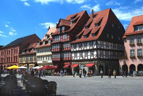 Quedlinburg, Marktplatz, Altstadt, Unesco Verdensarv, Nord-Tyskland, Tyskland