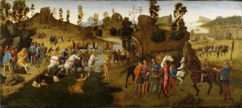 Julius Cæsar krysser Rubicon, Ravenna, Emilia-Romagna, Nord-Italia, Italia