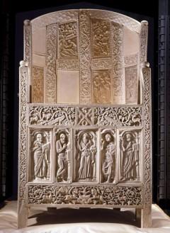Elfenbenstronen til biskop Maximian fra 500-tallet i Archiepiscopal Museum, Unesco, Ravenna, Emilia-Romagna, Nord-Italia, Italia