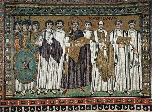 Keiser Justitian av Det bysantinske riket, San Vitale, Ravenna, Emilia-Romagna, Nord-Italia, Italia