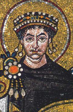 Mosaikk, keiser Justitian i San Vitale, Unesco, Ravenna, Emilia-Romagna, Nord-Italia, Italia