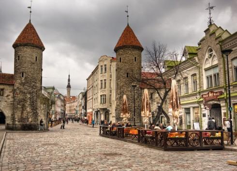 Viru-byporten, Rådhusplassen, Tallinn, historisk, gamleby, Estland, Unesco Verdensarven, Estland, Baltikum