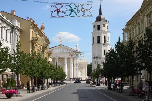 Gediminas Aveny, Katedralplassen, Gediminas Aveny og leder til Katedralplassen, Vilnius, Lithauen,