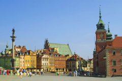 Warszawa, Unesco Verdensarv, gamlebyen Stare Miasto, Starowka, historisk bydel, middelalder, markedsplass Rynek Starego Miasto, Wisla, Midt-Polen, Polen