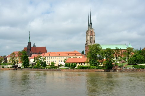 Helige Kreuz- und Bartholomäuskirche, Wroclaw, Unesco Verdensarv, middelalder, markedsplass Rynek, Odra, Sør-Polen, Polen