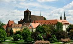 Wyspa Piasek, Mariakirken og det gamle universitetet, Wroclaw, Unesco Verdensarv, gamlebyen, historisk bydel, middelalder, markedsplass Rynek, Odra, Sør-Polen, Polen