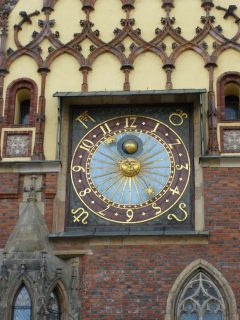 atronomisk ur, rådhus, ratus, Wroclaw, Unesco Verdensarv, gamlebyen, historisk bydel, middelalder, markedsplass Rynek, Odra, Sør-Polen, Polen