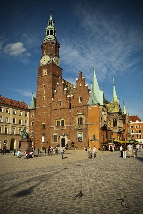 Rådhus, ratus, Wroclaw, Unesco Verdensarv, middelalder, markedsplass Rynek, Odra, Sør-Polen, Polen