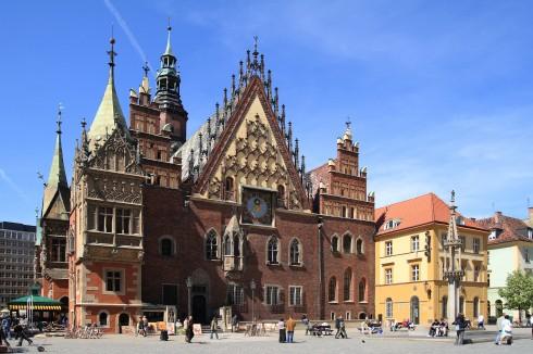 Rådhuset, Ratus, Wroclaw, Unesco Verdensarv, middelalder, markedsplass Rynek, Odra, Sør-Polen, Polen