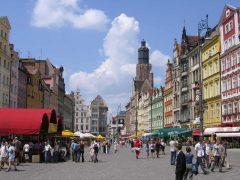 Rynek med tårnet til Elizabeth-kirken, Wroclaw, Unesco Verdensarv, middelalder, markedsplass Rynek, Odra, Sør-Polen, Polen