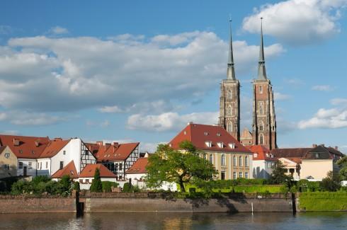 Wroclaw, Unesco Verdensarv, middelalder, markedsplass Rynek, Odra, Sør-Polen, Polen