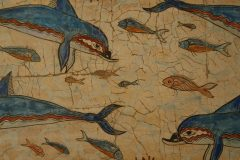 Definer, fresker, Knossos, Kreta, Hellas