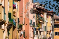 Piazza Anfiteatro, Lucca, romertid, amfiteater, middelalder, renessanse, historisk bydel, gamleby, Toscana, Midt-Italia, Italia