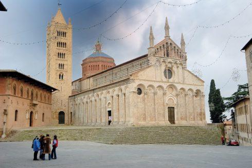 Massa Marittima, Duomo, Piazza Garibaldi, gamleby, historisk, Toscana, Midt-Italia, Italia