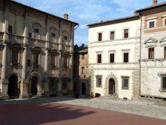 Palazzo dei Nobili, Palazzo Tarugi, Piazza Grande, Montepulciano, gamleby, historisk, Toscana, Midt-Italia, Italia