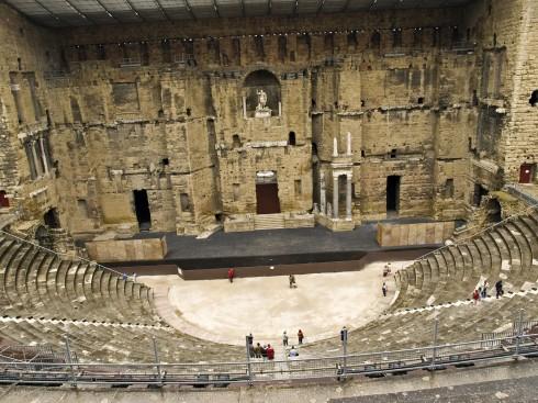 Det romerske teateret, Orange, romertid, teater, triumfbue, Provence, Cote d'Azur, Sør-Frankrike, Frankrike