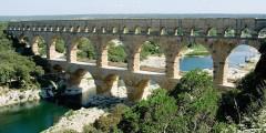 Pont du Gard, akvedukt, Nimes, romertid, akvedukt, amfiteater, Provence, Cote d'Azur, Sør-Frankrike, Frankrike