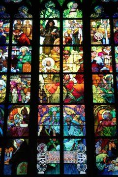St Vitus, glassmalerier, art noveau, Praha, Stare Mesto, Unesco Verdensarven, middelalder, markedsplassen, Karlsbroen, Böhmen, Tsjekkia