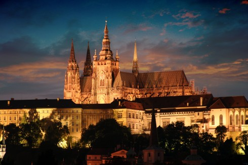 Den gotiske St Vitus-katedralen, Praha, Stare Mesto, Unesco Verdensarven, middelalder, markedsplassen, Karlsbroen, Böhmen, Tsjekkia