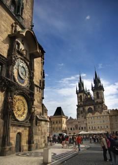 Den astronomiske klokken, rådhustårnet, Praha, Stare Mesto, Unesco Verdensarven, middelalder, markedsplassen, Karlsbroen, Böhmen, Tsjekkia