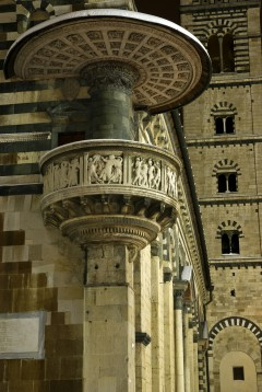 "Duomo, prekestol, ""Det hellige bånds prekestol"", frise Donatello, Prato, gamleby, middelalder, romansk, historisk, Toscana, Midt-Italia, Italia"