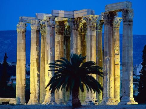 Det vakre Olympia Zeus-tempelet, Plaka, Athen Hellas