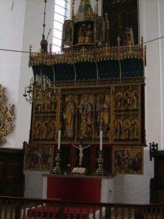 aarhus domkirke altertavle, triptych laget av Lübeck-mesteren Bernt Notke, Århus, Jylland, Danmark