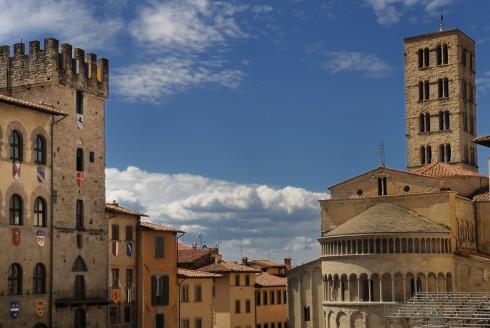 Pieve di Santa Maria, Piazza Grande, Arezzo, gamleby, middelalder, romansk, historisk, Toscana, Midt-Italia, Italia