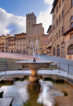 Piazza Grande, Arezzo, gamleby, middelalder, romansk, historisk, Toscana, Midt-Italia, Italia