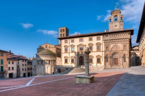 Piazza Grande, Pieve di Santa Maria, Arezzo, gamleby, middelalder, romansk, historisk, Toscana, Midt-Italia, Italia