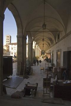 Vasaris arkade, Piazza Grande, Arezzo, gamleby, middelalder, romansk, historisk, Toscana, Midt-Italia, Italia