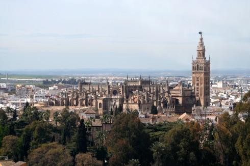 Giralda, Sevilla, Catedral de Santa María de la Sede, Guadalquivir, Unescos liste over Verdensarven, historisk bydel, gamleby, Andalucia, Spania
