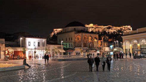 Monastiraki-plassen, Athen, Akropolis, Hellas