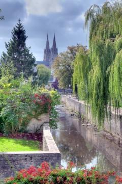 Cathédrale Bayeux de Notre Dame, Bayeux, vielle ville, gamlebyen, middelalder, bindingsverk, historisk bysenter, Normandie, Vest-Frankrike, Frankrike