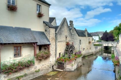 Bayeux, vielle ville, kanaler, gamlebyen, middelalder, bindingsverk, historisk bysenter, Normandie, Vest-Frankrike, Frankrike