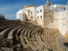 Cadiz, historisk bydel, romersk teater, gamleby, Casco Antiguo, Andalucia, Spania