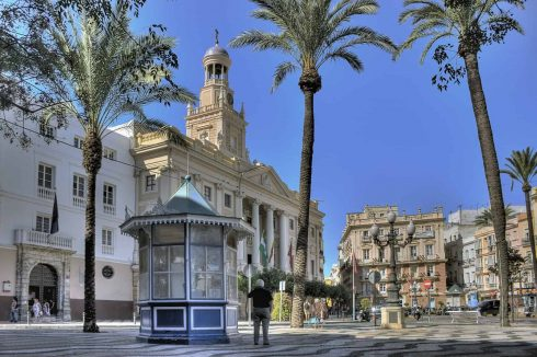 Plaza de San Juan de Dios, Ayuntamiento, Cadiz, historisk bydel, romersk teater, gamleby, Andalucia, Spania