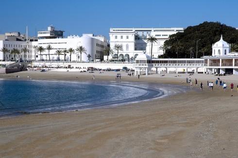 Playa de la Caleta, Cadiz, historisk bydel, romersk teater, gamleby, Andalucia, Spania