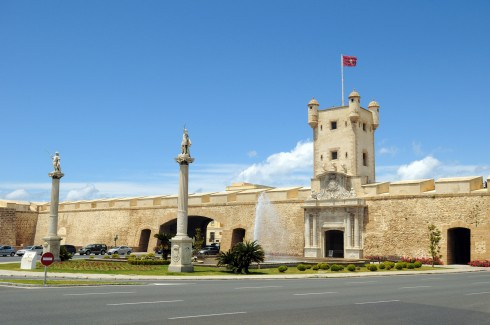 Puertas de Tierras, Cadiz, historisk bydel, romersk teater, gamleby, Andalucia, Spania