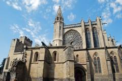Den gotiske Basilique St.-Nazaire, Carcassonne, festningsby, citadell, Vieux ville, gamlebyen, middelalder, Sør-Frankrike, Frankrike