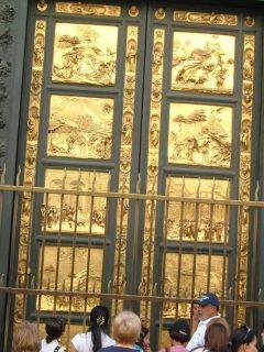 Paradisets dører av Lorenzo Ghiberti, Firenze, renessanse, middelalder, Unescos liste over Verdensarven, historisk bydel, gamleby, Toscana, Midt-Italia, Italia