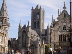 Sint Michelskerk, Ghent, kanaler, St Baafs Plas, historisk, Unescos liste over Verdensarven, øl, bryggerier, gourmet, gamleby, gotikken, renessansen, barokken, Flandern, Belgia