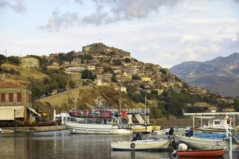 Molivos, middelalderborg, Lesbos, antikken, Øyene, Hellas