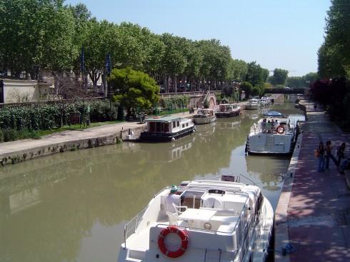 Canal du Midi, Narbonne, Ponte Marchant, middelalder, Sør-Frankrike, Frankrike
