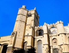 Katedral, Katedral, Viuex ville, gamlebyen, Canal du Midi, Narbonne, Ponte Marchant, middelalder, Sør-Frankrike, Frankrike