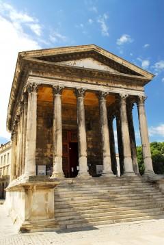 Maison Carrée, Nimes, romertid, akvedukt, amfiteater, Provence, Cote d'Azur, Sør-Frankrike, Frankrike