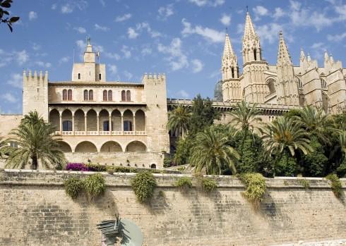 kongepalass Almudaina, Palma, middelalderen, historisk bysenter, gamleby, Mallorca, Balearene, Spania