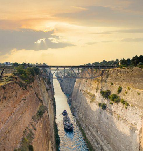 Korinth-kanalen, Istmus, Peloponnes, Hellas